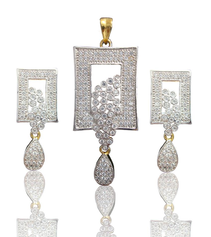 Daphne Bazaar Rectangular shapped Pendant and Earrings