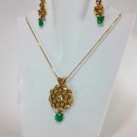 Emerald shade Kundan Pendant and Earrings