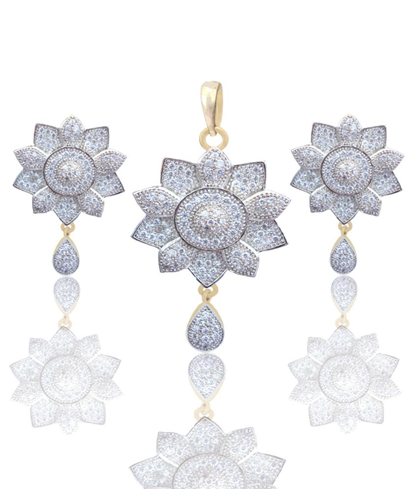 Daphne Bazaar Amercian Diamond Flower earrings and pendant