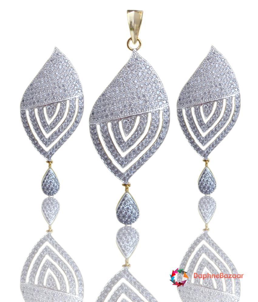 Daphne Bazaar American Diamond Leaf Pendant and Earrings