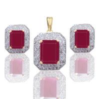 Ruby Shade American Diamond Pendant and Earrings Set