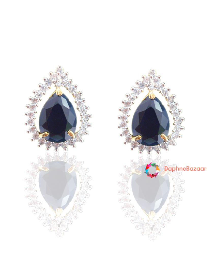 American Diamond Pendant And Earrings Black Sapphire Look