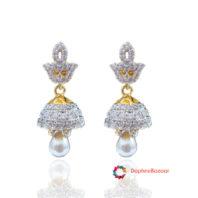 American Diamond Pearl Droplet Jhumki
