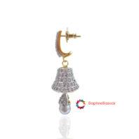 American Diamond Pearl Jhumki Side Look