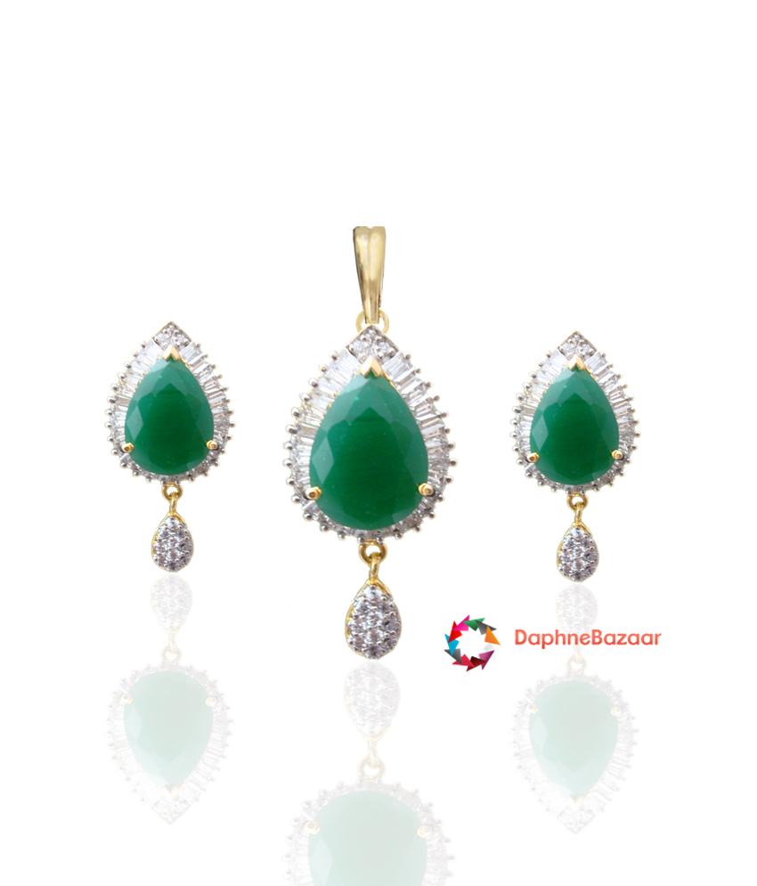 American Diamond Pendant and Earrings Emerald look