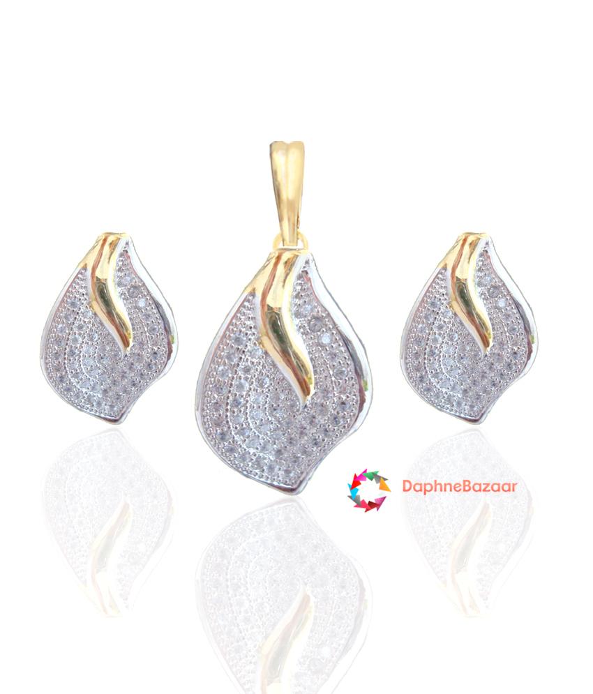 Designer American Diamond Leaf Pendant and Earrings