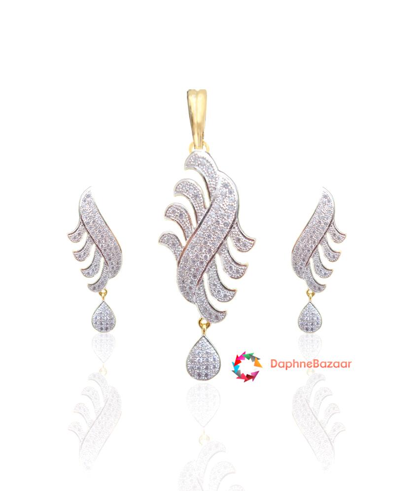Designer American Diamond Pendant and Earrings