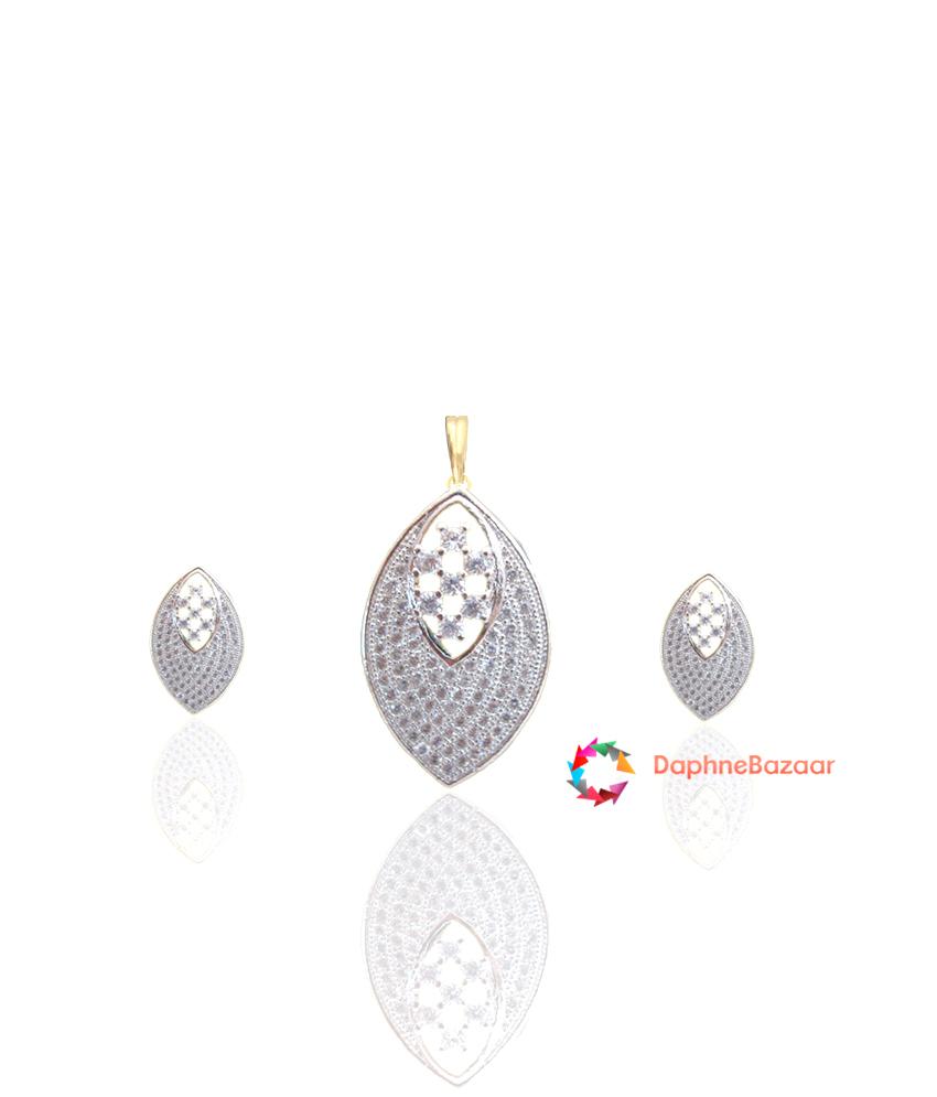 Designer Art American Diamond Earrings and Pendant
