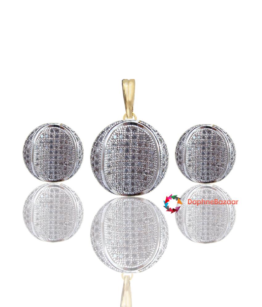 Designer Art American Diamond Pendant and Earrings
