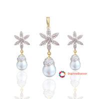 Designer Star Pendant and Earrings Pearl Droplet