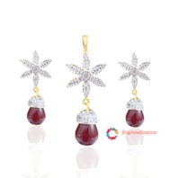 Designer Star Pendant and Earrings Ruby Droplet