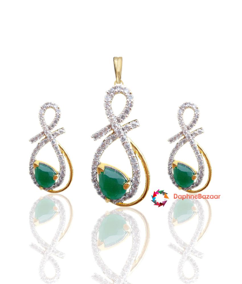 Emerald American Diamond Pendant and Earrings