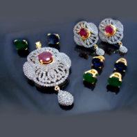 Daphne Changeable Ruby Stone Pendant Earrings for Women
