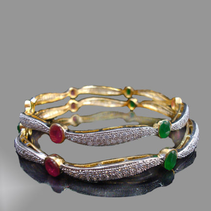 Daphne Ruby Emerald Curvy Designer Bangle for women