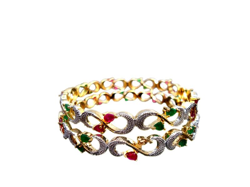 Ruby Emerald Designer Bangle front