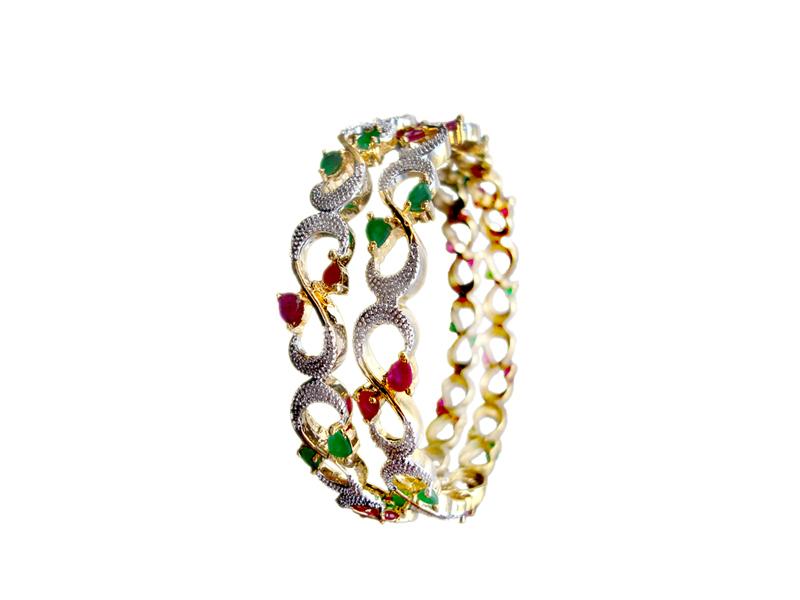 Ruby Emerald Designer Bangle