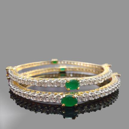 Ruby Emerald Sleek Designer Bangle, Emrerald side look