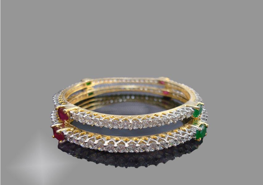 Ruby Emerald Sleek Designer Bangle