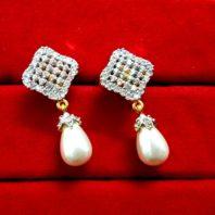 Daphne Diamond White Pearl Droplet