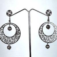 Daphne Black Metal Thin Filigree Work Earrings for Women
