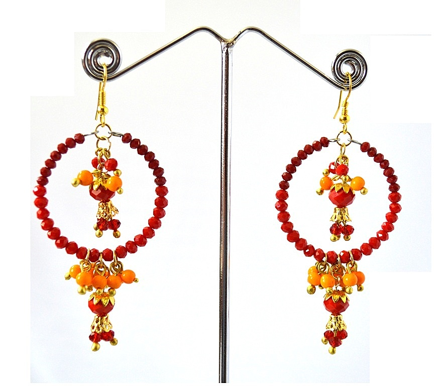 Red Maroon Beads Chandelier Earrings for Women, Light weighted