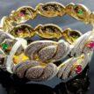 Daphne AD Studded Ruby Emerald Kada for women, Anniversary Gift - closeup2