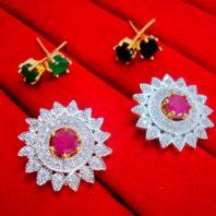 Designer 6in1 Studded Zircon Earrings for Women - Pink