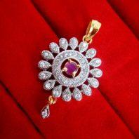 Daphne Pink Flower Pendant Earrings for Cute Rakhi Gift - PENDANT