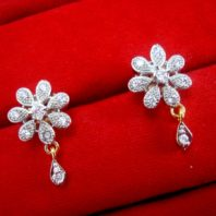 Daphne Zircon Flower Pendant Earrings for Cute Rakhi Gift - EARRINGS