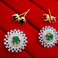 SixInOne Changeable Studded Zircon Earrings for Women, Best Anniversary Gift - Green