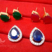 CD23 Daphne Three Shade Changeable Zircon Earrings - BLUE