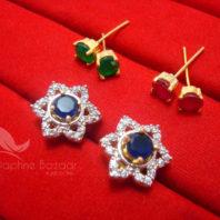CE27, 6 in 1 Cute Flower Changeable Studded Zircon Earrings - BLUE