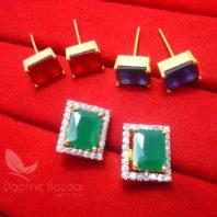 CE28, 6 in 1 Changeable Studded Zircon Earrings - GREEN
