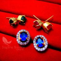 CE29, Fashionable Oval SixInOne Changeable Zircon Earrings for Women - BLUE