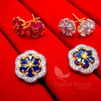 CE30 Daphne Six in One Changeable AD Earrings for Women - BLUE