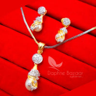 AD90 Daphne Designer Pendant Set With Pearl Drop
