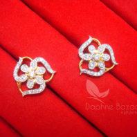 E19, Daphne Sparkling Zircon Designer Round Earrings