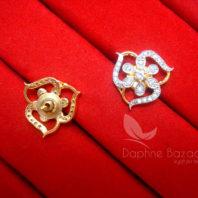 E19, Daphne Sparkling Zircon Designer Round Earrings - Back