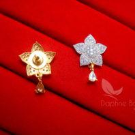 E22, Daphne Zircon Golden Silver Star Earrings for women - BACK