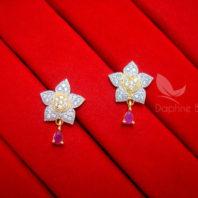 E23, Daphne Pink Zircon Golden Silver Star Earrings