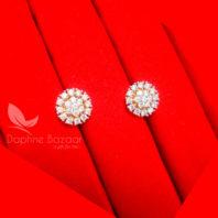 E32, Daphne Premium AD Zircon Small Round Earrings for Women