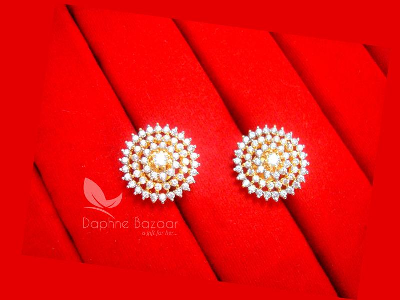 E33, Daphne Premium AD Zircon Round Earrings for Women