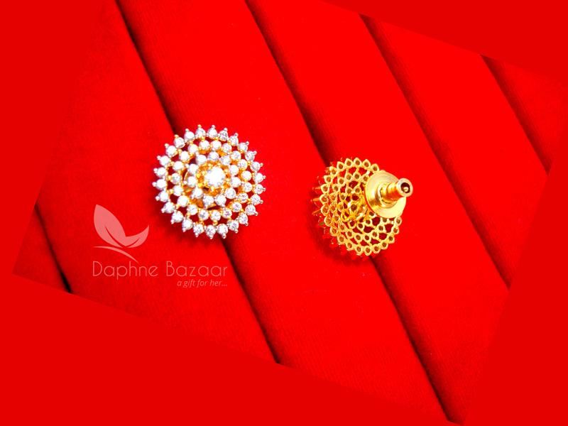 E33, Daphne Premium AD Zircon Round Earrings for Women - BACK VIEW