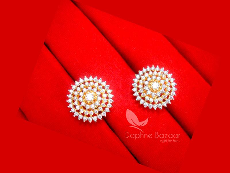 E33, Daphne Premium AD Zircon Round Earrings for Women - VIEW 2