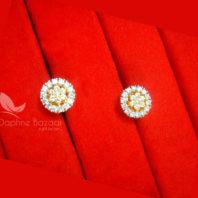E35, Daphne Premium AD Zircon Small Round Earrings for Women