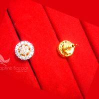 E35, Daphne Premium AD Zircon Small Round Earrings for Women - BACK