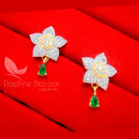 E49, Daphne Green Zircon Star Hanging in Golden Silver Tone