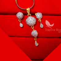 Z33, Daphne Designer Zircon Sleek Pendant Earrings