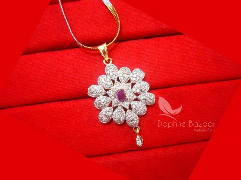 Z35, Daphne Pink Flower Zircon Studded Pendant Earrings for Women