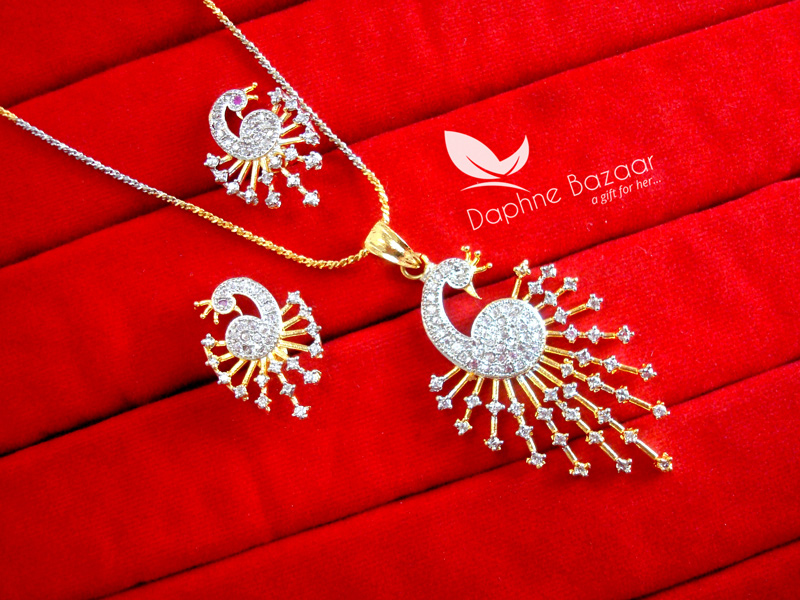 Schön PE54, Daphne Peacock Pendant Earrings For Valentine Surprise Gift For Wife